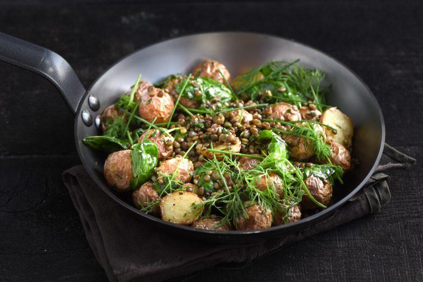 Aardappelsalade met linzen