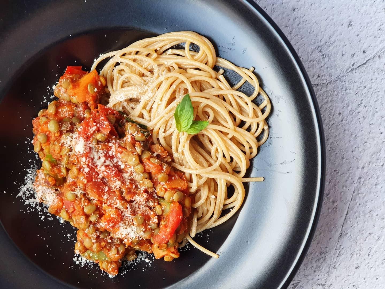 vegetarische linzenspaghetti