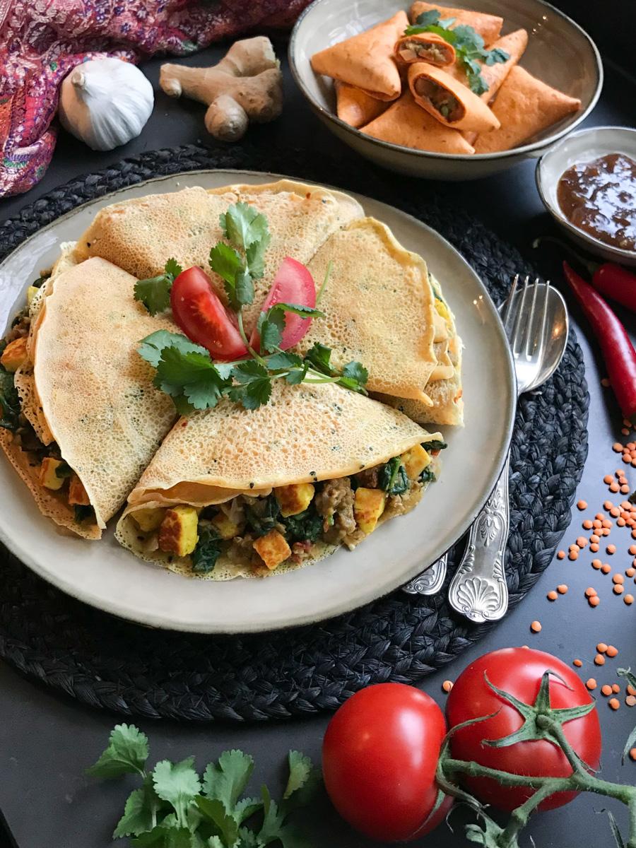 Linzen curry met spinazie en paneer